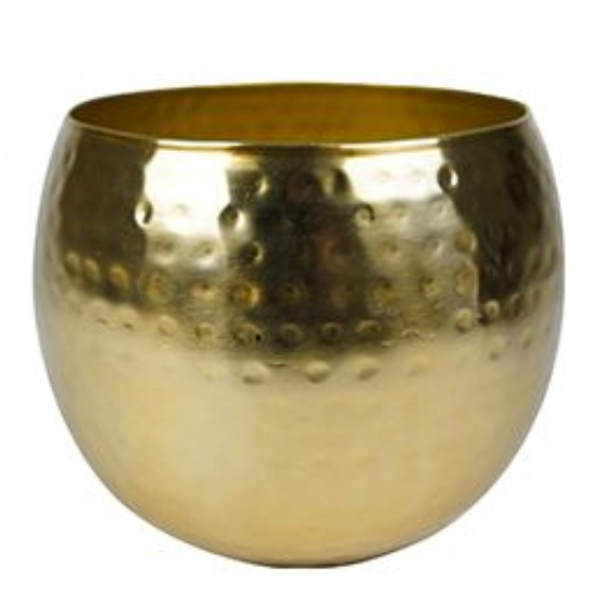 Cachepot de Metal Artesanal Ouro Indiano Kody 30x25cm