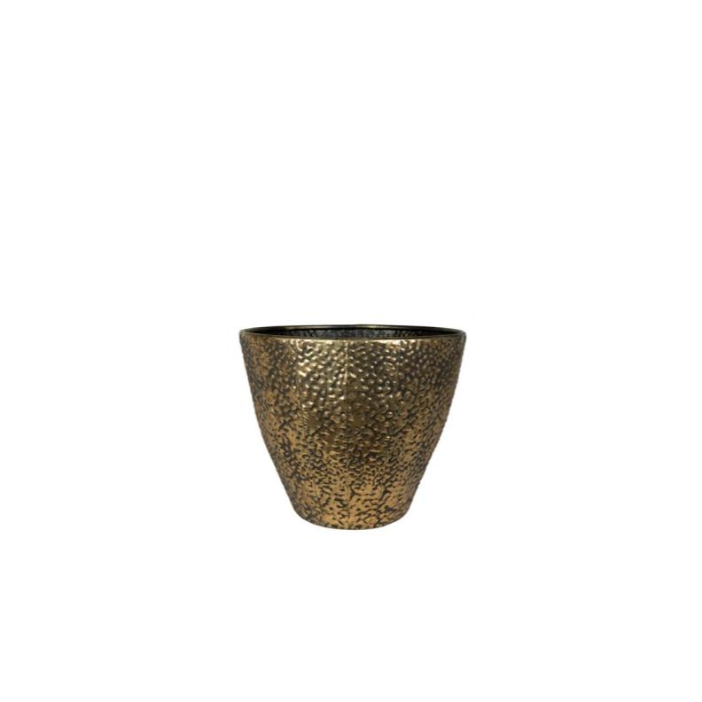 Cachepot de Metal Artesanal Ouro Jesse 30x24cm