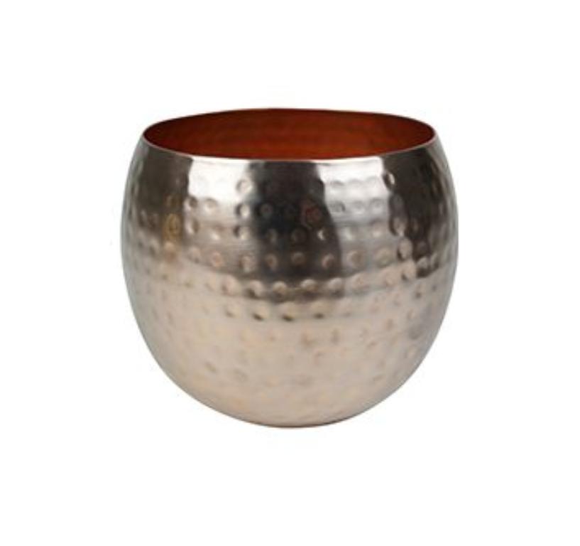 Cachepot de Metal Artesanal Ouro Rose Indiano Kody 23x19cm