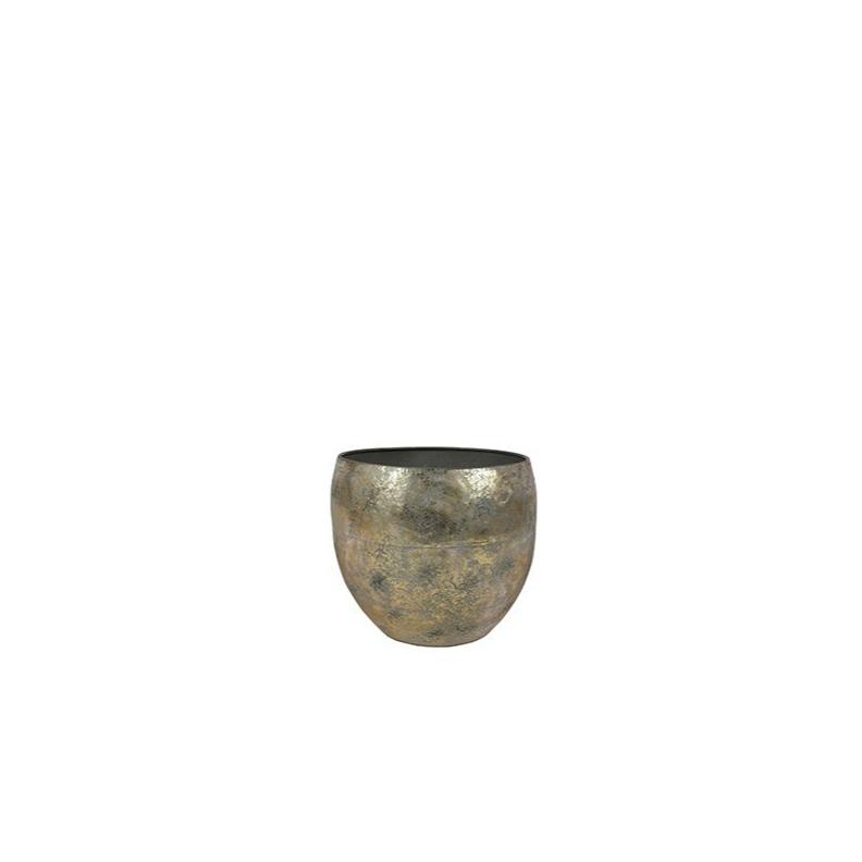 Cachepot de Metal Artesanal Ouro Thomas 28x25cm