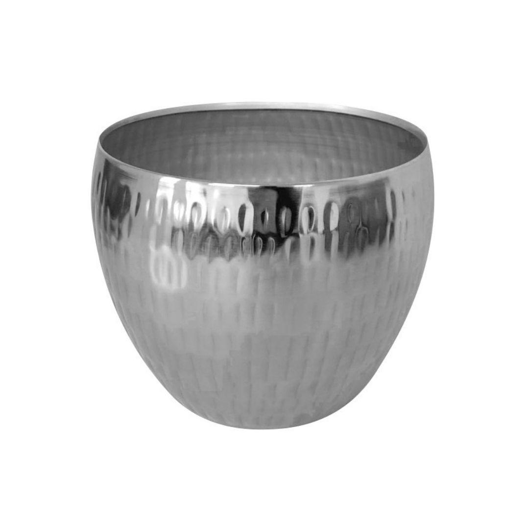 Cachepot de Metal Artesanal Prata Indiano Bia 15x12cm