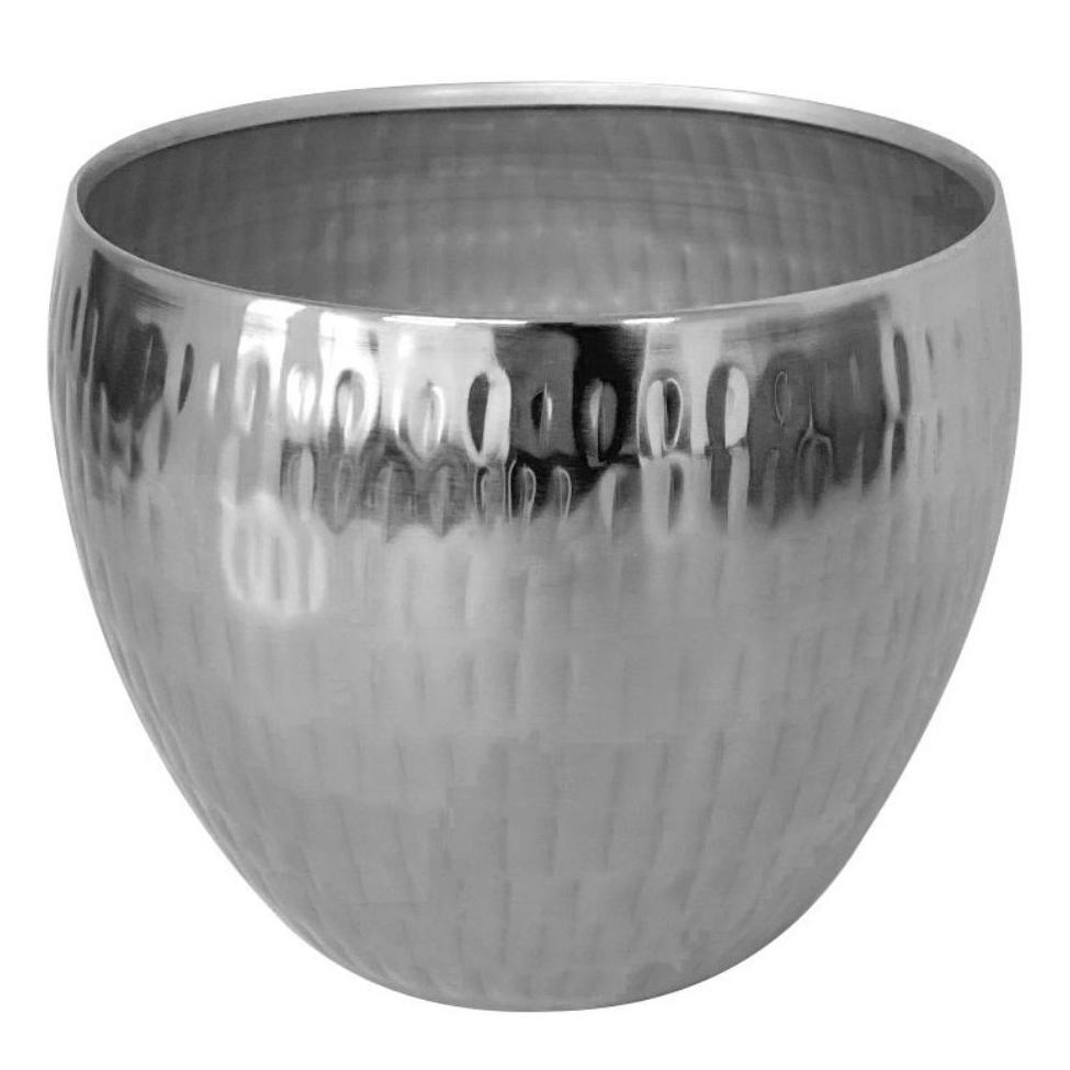Cachepot de Metal Artesanal Prata Indiano Bia 17x15cm