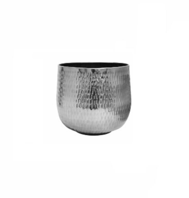 Cachepot de Metal Artesanal Prata Indiano Jenna 21x16cm