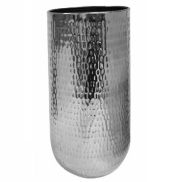 Cachepot de Metal Artesanal Prata Indiano Jenna 29x50cm