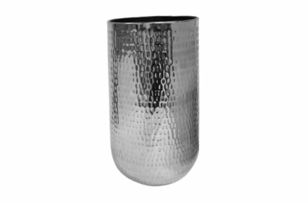 Cachepot de Metal Artesanal Prata Indiano Jenna 41x68cm