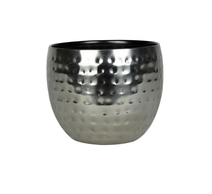 Cachepot de Metal Artesanal Prata Indiano Kody 15x12cm