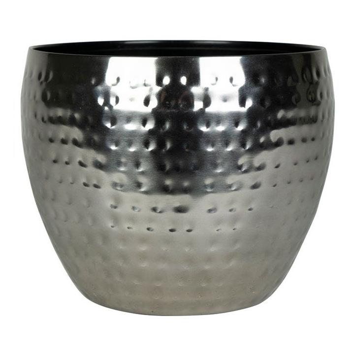 Cachepot de Metal Artesanal Prata Indiano Kody 17x15cm