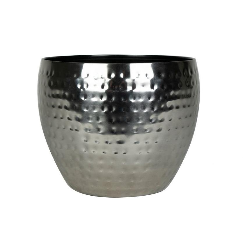 Cachepot de Metal Artesanal Prata Indiano Kody 21x16cm