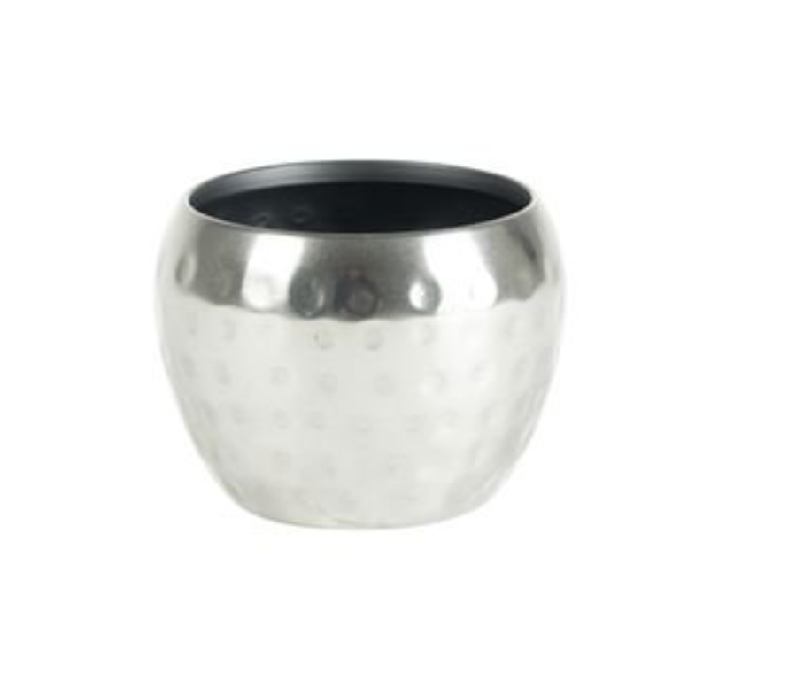 Cachepot de Metal Artesanal Prata Indiano Kody 9x7cm