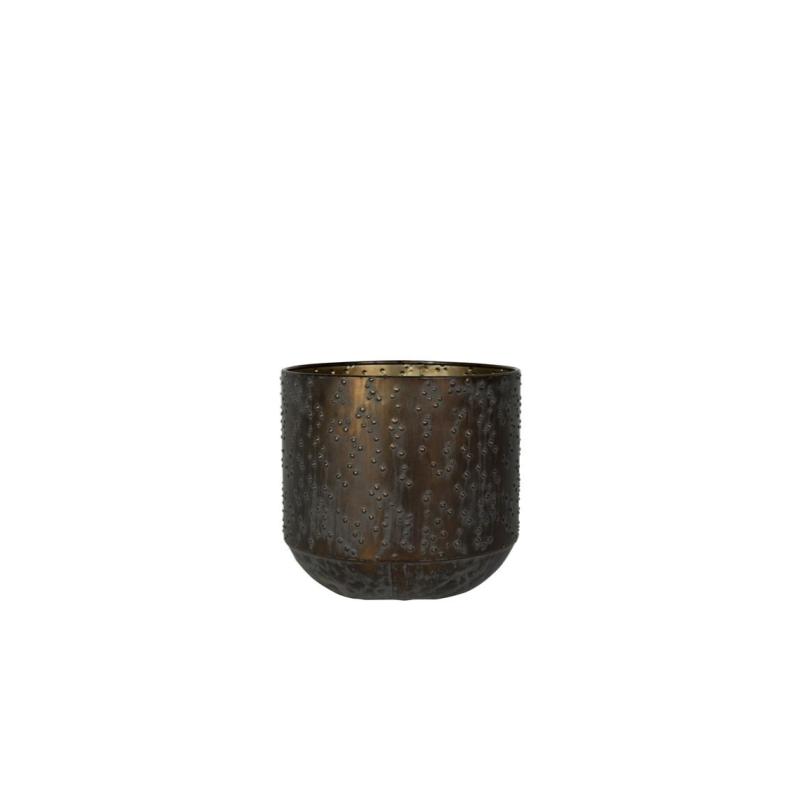 Cachepot de Metal Artesanal Preto e Cobre Lian 13x13cm