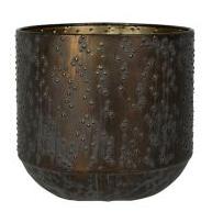 Cachepot de Metal Artesanal Preto e Cobre Lian 15x16cm