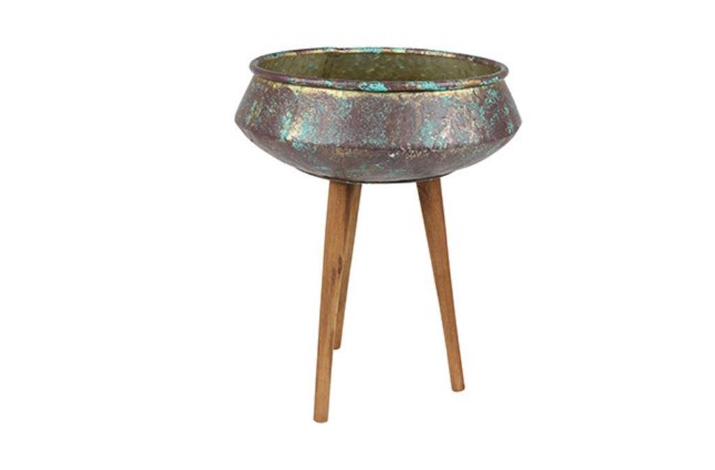 Cachepot de Metal Bronze Antigo c/ Pés de Madeira 37x47cm     VASO COR ANTIQ BRONZE D37 A47