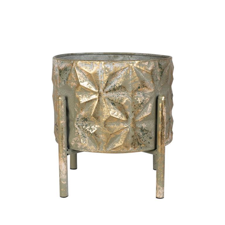 Cachepot de Metal c/ Pé Linske Ouro 24x26cm