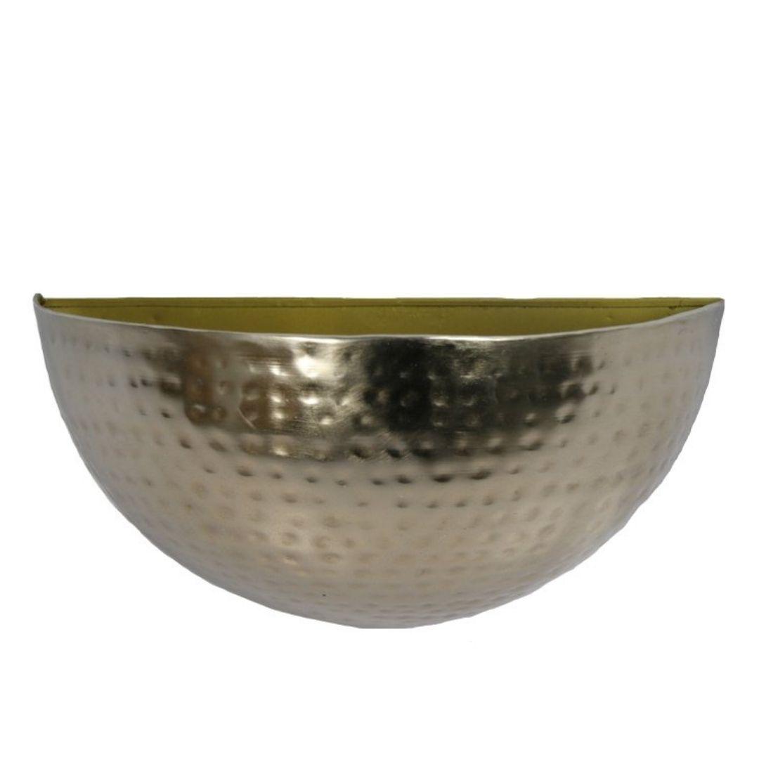 Cachepot de Parede Metal Artesanal Ouro Brilho 19x08cm