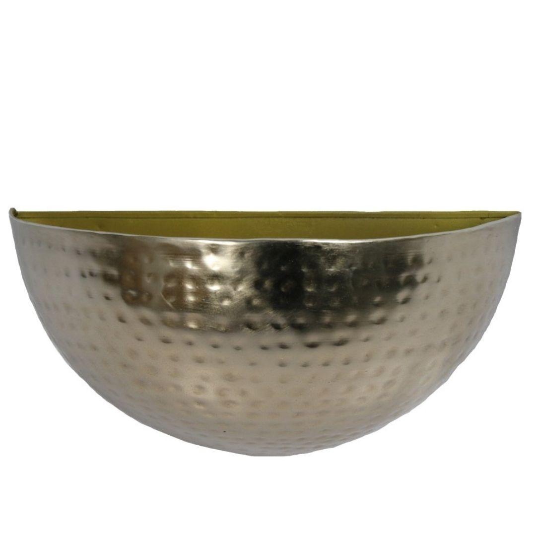 Cachepot de Parede Metal Artesanal Ouro Brilho  30x14cm