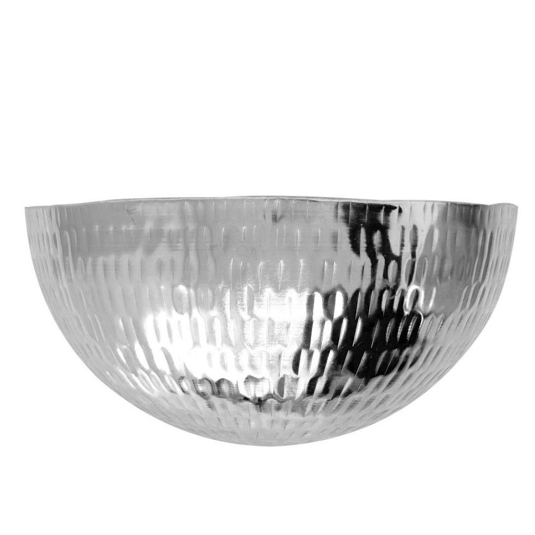 Cachepot de Parede Metal Artesanal Prata Brilho 30x14cm