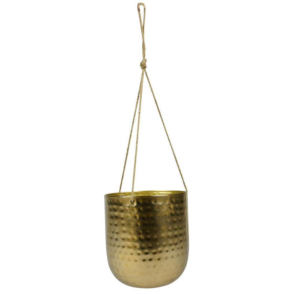 Cachepot de Pendurar de Metal Artesanal Ouro Kody 16x18cm