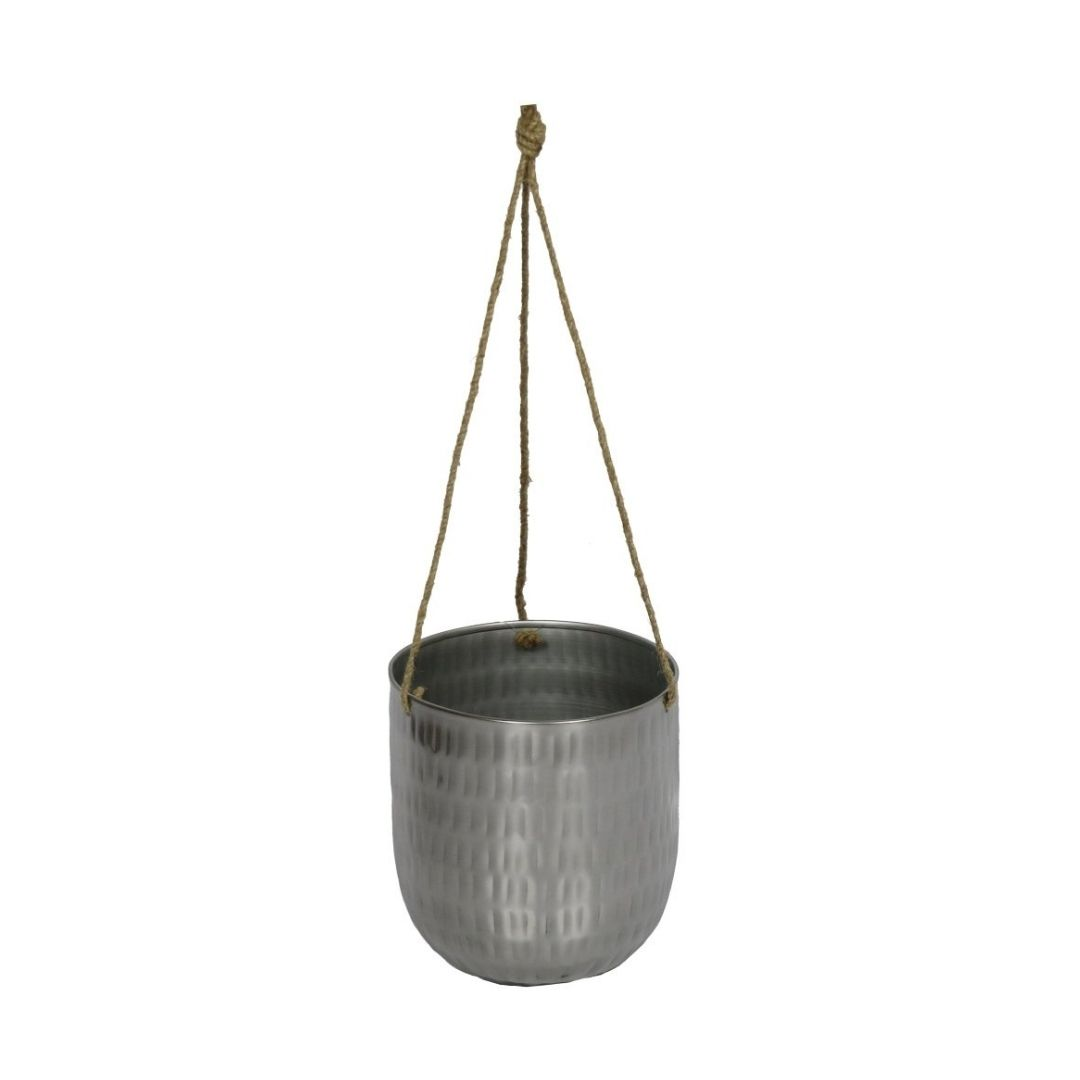 Cachepot de Pendurar de Metal Prata Bia 14x15cm