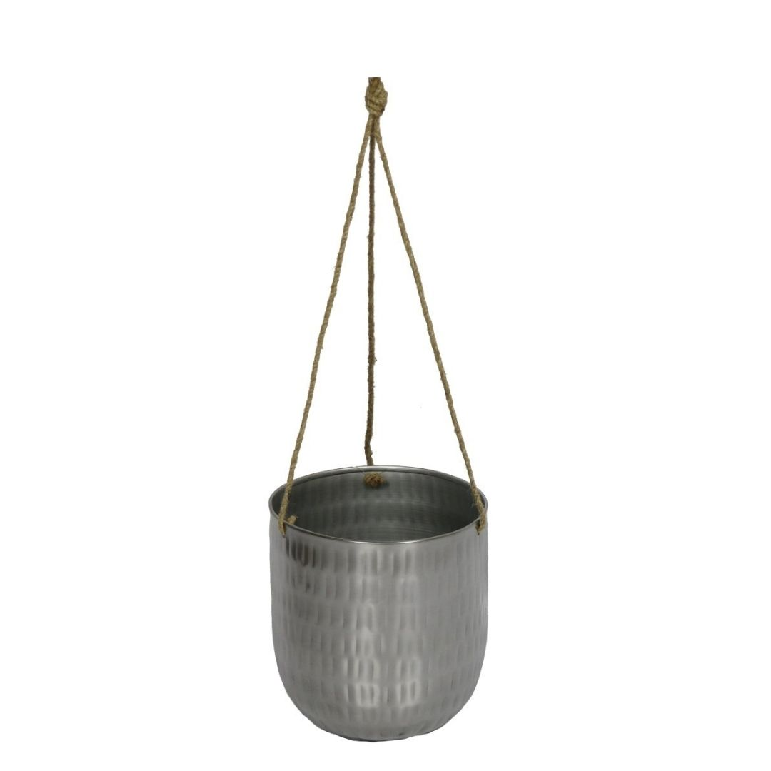 Cachepot de Pendurar de Metal Prata Bia 16x18cm