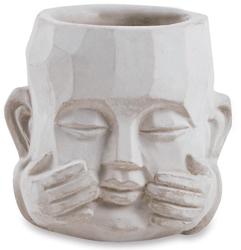 Cachepot Face Muda Em Cimento - 8cm x 8cm Cor: Cinza