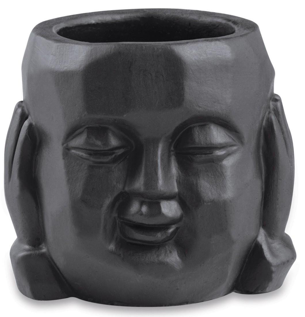 Cachepot Buda Surdo em Cimento Preto 8x8cm