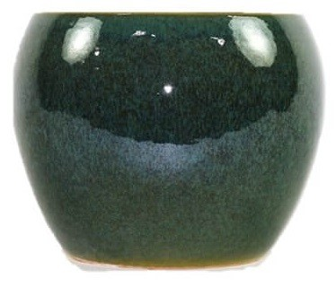 Cachepot de Cerâmica Verde Musgo Artesanal Holandês Lorance 15x13cm