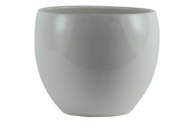 Cachepot de Cerâmica Branco Artesanal Holandês Lorance 21x18cm