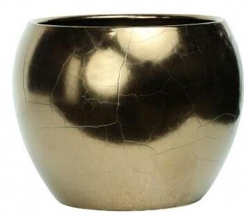 Cachepot de Cerâmica Dourado Artesanal Holandês Lorance 21x18cm