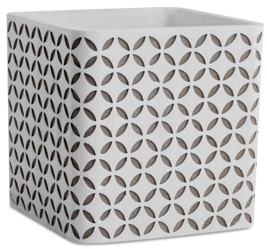 Cachepot Quadrado com Detalhes em Cimento - 14cm x 14cm Cor: Cimento