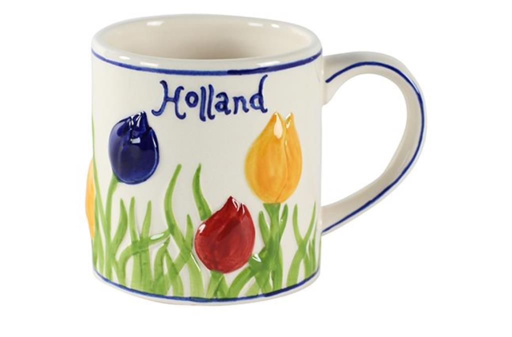 Caneca Tulipas de Cerâmica Colorida Holandesa 250ml