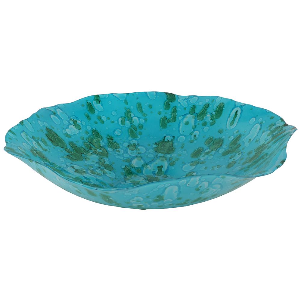 Centro de Mesa em Vidro Azul 38X10cm