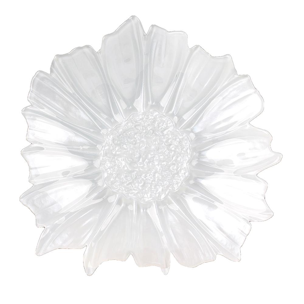 Centro de Mesa em Vidro Pétala Branco 42x9cm