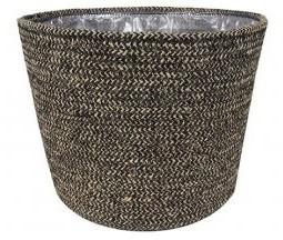 Cesto artesanal em seagrass (Selin) -  26cm x 23cm Cor: Preto
