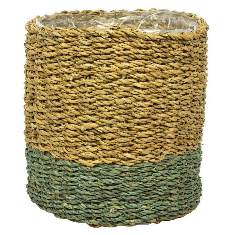 Cesto de Seagrass Artesanal Azul Gelo Ido 21x22cm
