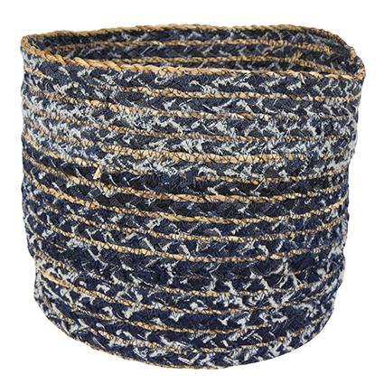 Cesto de Tecido Artesanal Azul Jeans Lisette 21x22cm
