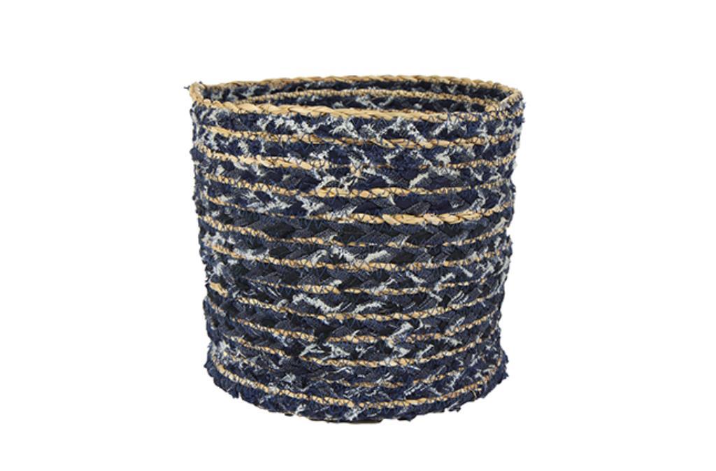 Cesto de Tecido Artesanal Azul Jeans Lisette 25x25cm