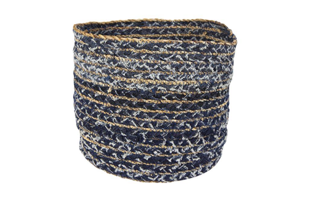 Cesto de Tecido Artesanal Azul Jeans Lisette 29x26cm