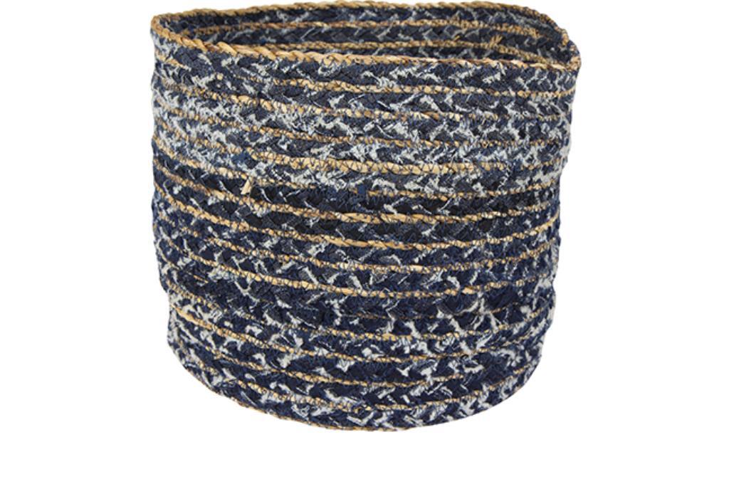 Cesto de Tecido Artesanal Azul Jeans Lisette 34x30cm