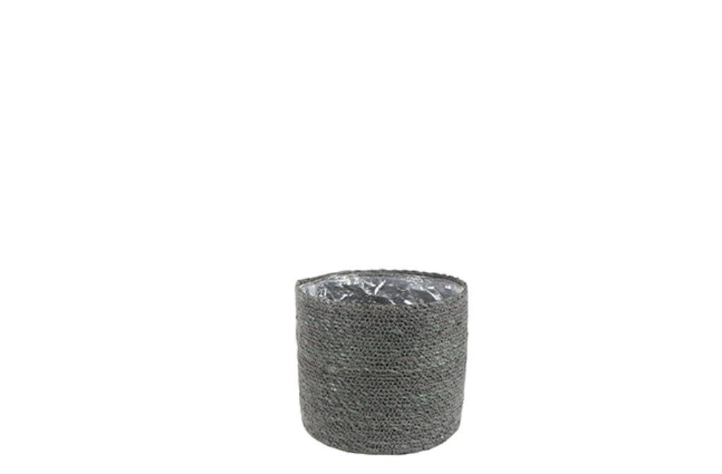Cesto Natural de Seagrass Cinza Artesanal Stef 19x18cm