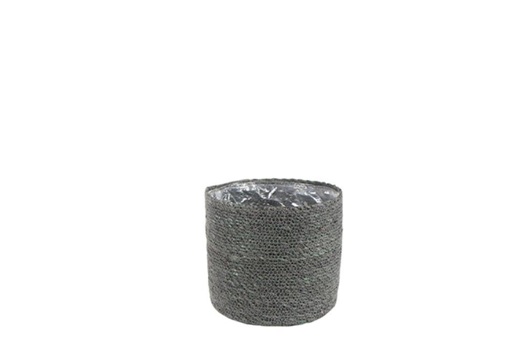 Cesto Natural de Seagrass Cinza Artesanal Stef 23x21cm