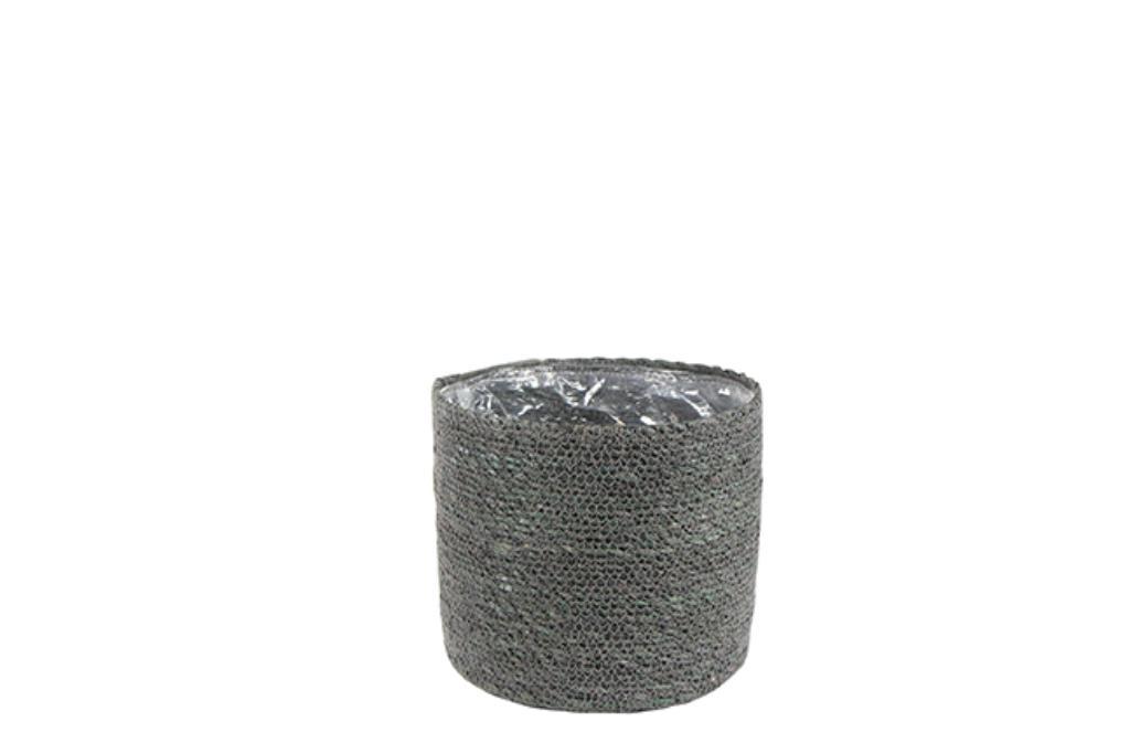 Cesto Natural de Seagrass Cinza Artesanal Stef 26x25cm