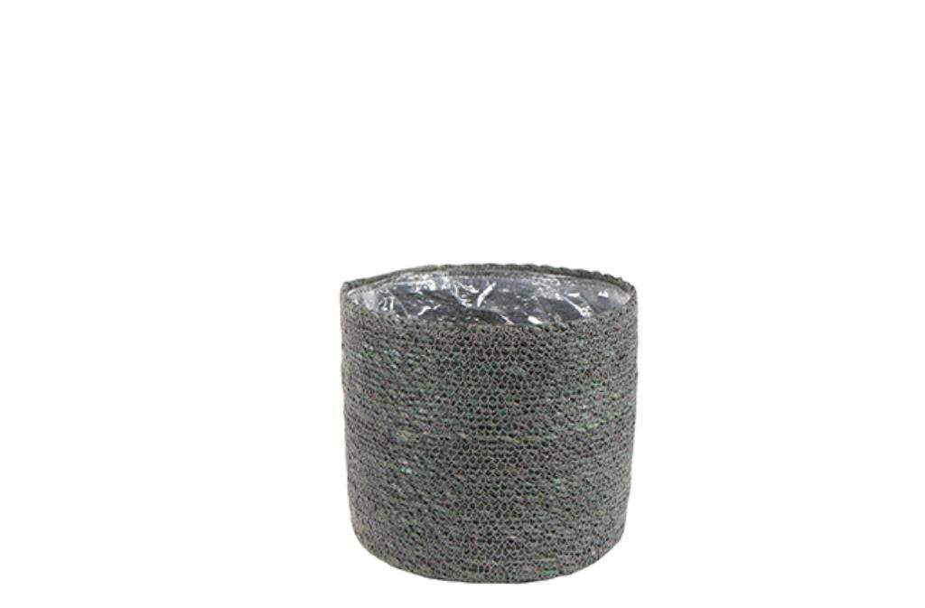 Cesto Natural de Seagrass Cinza Artesanal Stef 28x29cm