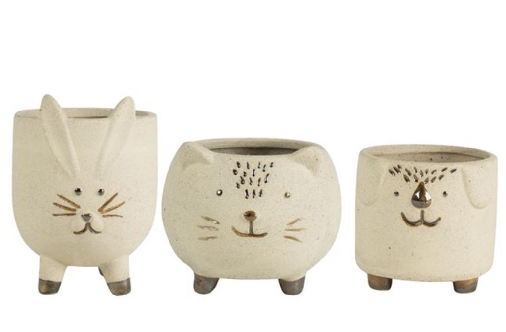 Conjunto de 3 Cachepots Animais Domésticos de Cerâmica Artesanal Areia c/ Dourado Syb 9x9cm