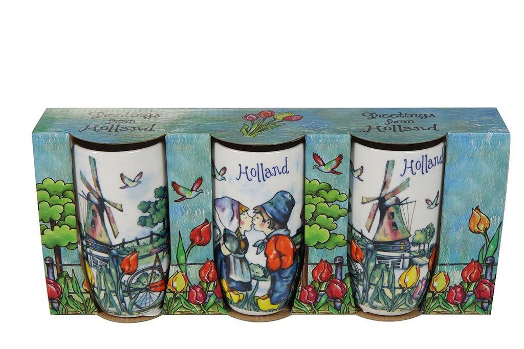 Conjunto de 3 Canecas de Cerâmica Colorida Holandesa
