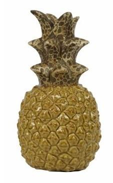 Escultura de Abacaxi de Cerâmica Amarelo 14x27cm