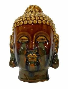 Enfeite Buddha em Cerâmica Esmaltada - 18cm Cor: Marrom