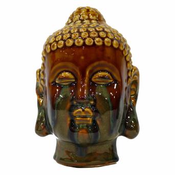 Enfeite Buddha em Cerâmica Esmaltada Marrom 18cm