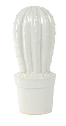 Enfeite Cacto em Cerâmica Esmaltada - 16cm x 40cm Cor: Branco