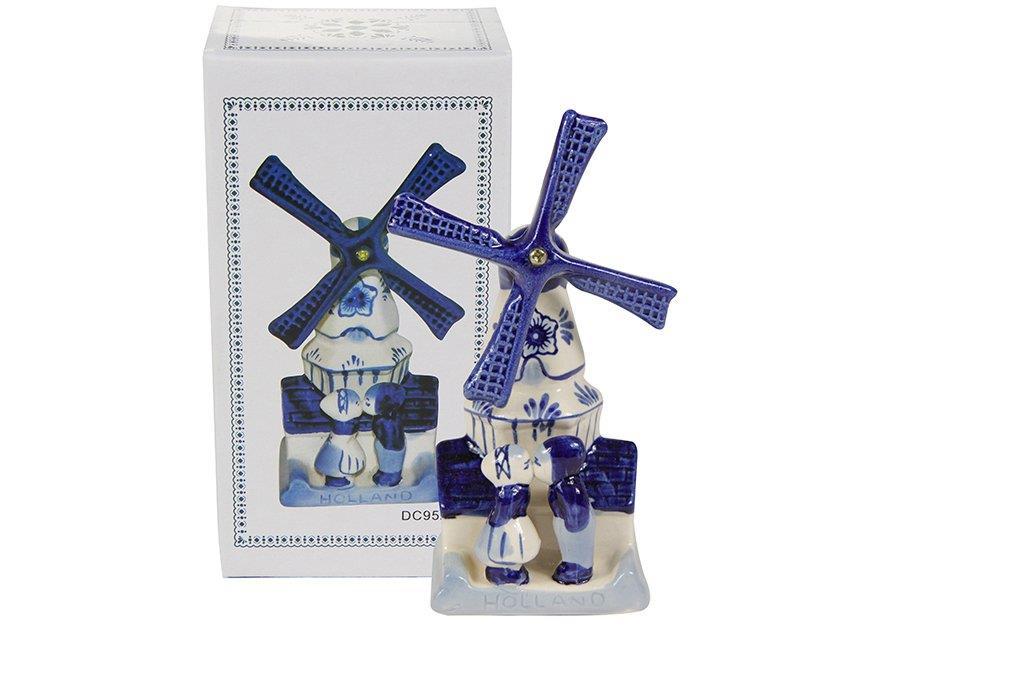 Enfeite de Cerâmica Moinho Casal Azul 8x7x14cm