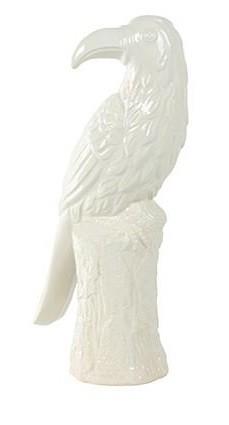 Enfeite Pássaro em Cerâmica Esmaltada -16cm x 42cm Cor: Branco